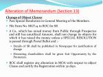 alteration of memorandum section 133