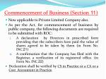 commencement of business section 11