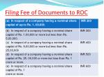 filing fee of documents to roc