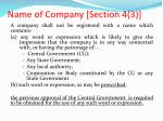 name of company section 4 3