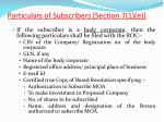 particulars of subscribers section 7 1 e2