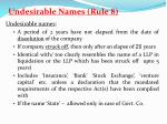undesirable names rule 84