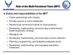 role of the multi functional team mft3