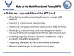 role of the multi functional team mft4