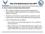 role of the multi functional team mft9