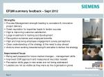 efqm summary feedback sept 2012