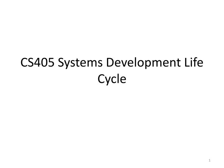 cs405 systems development life cycle n.