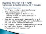 deciding whether the it plan should be business driven or it driven3