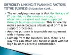 difficulty linking it planning factors tothe business discussion cont3