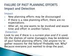 failure of past planning efforts impact and detection