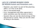 lack of a defined business vision or mission actions and preventions cont