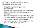 lack of a defined business vision or mission detection cont1