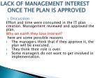 lack of management interest once the plan is approved