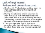 lack of mgt interest actions and preventions cont
