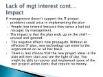 lack of mgt interest cont impact