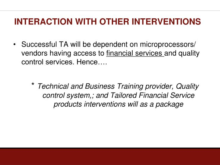 INTERACTION WITH OTHER INTERVENTIONS