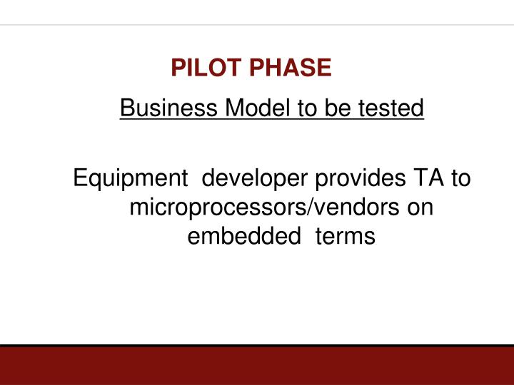 Business Model to be tested