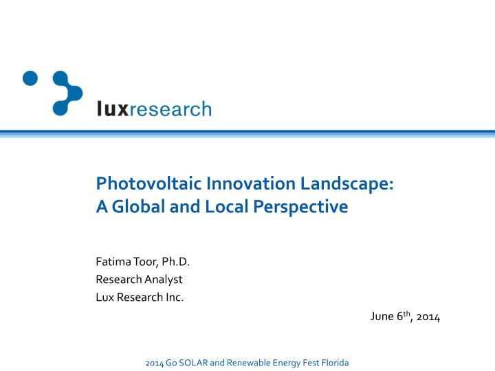 photovoltaic innovation landscape a global and local perspective n.