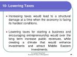 10 lowering taxes