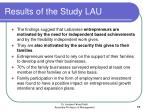 results of the study lau