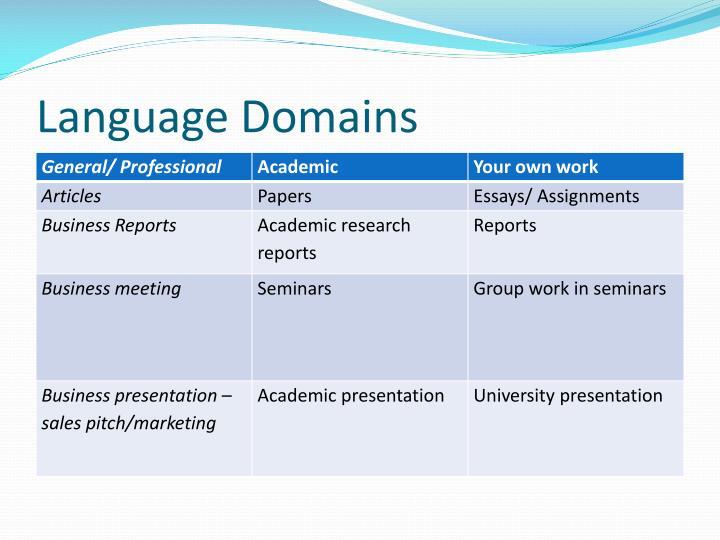 Language Domains