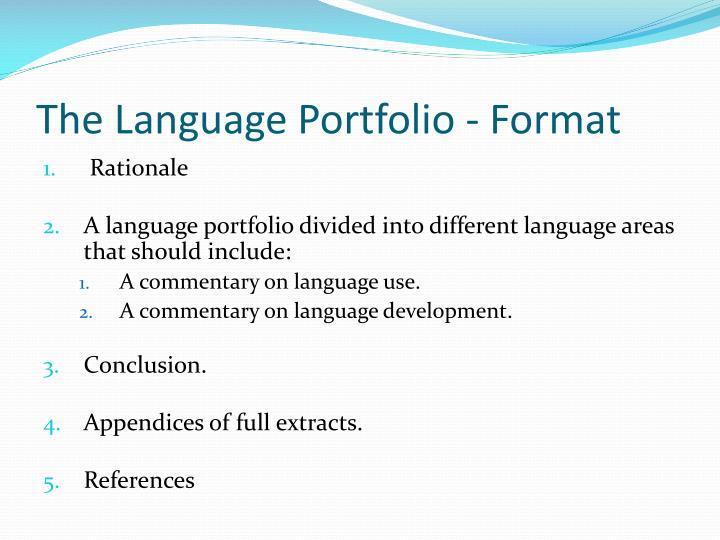 The Language Portfolio - Format