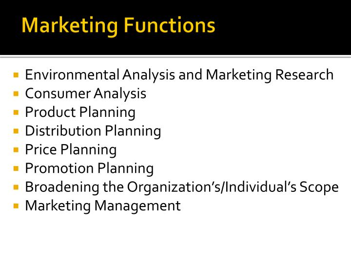 Marketing Functions
