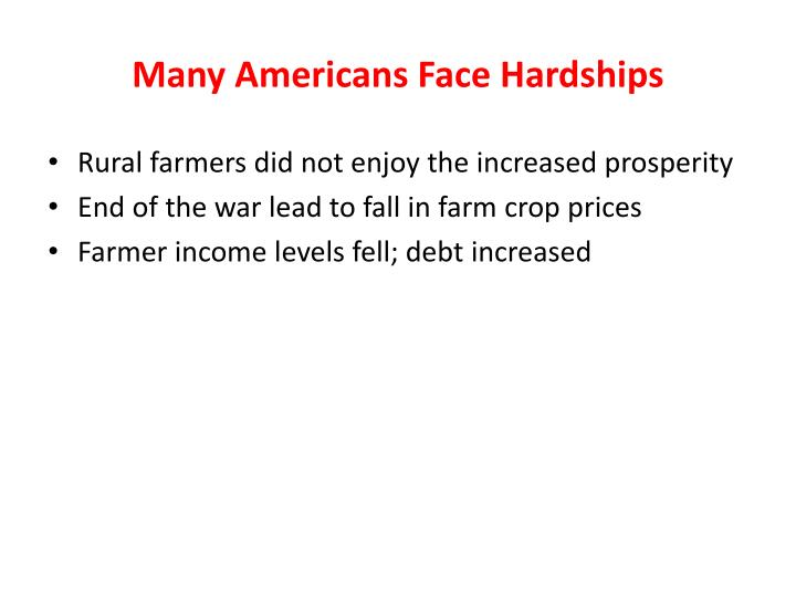 Many Americans Face Hardships