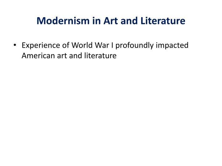 Modernism in Art and Literature
