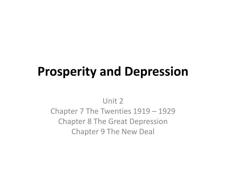 prosperity and depression n.