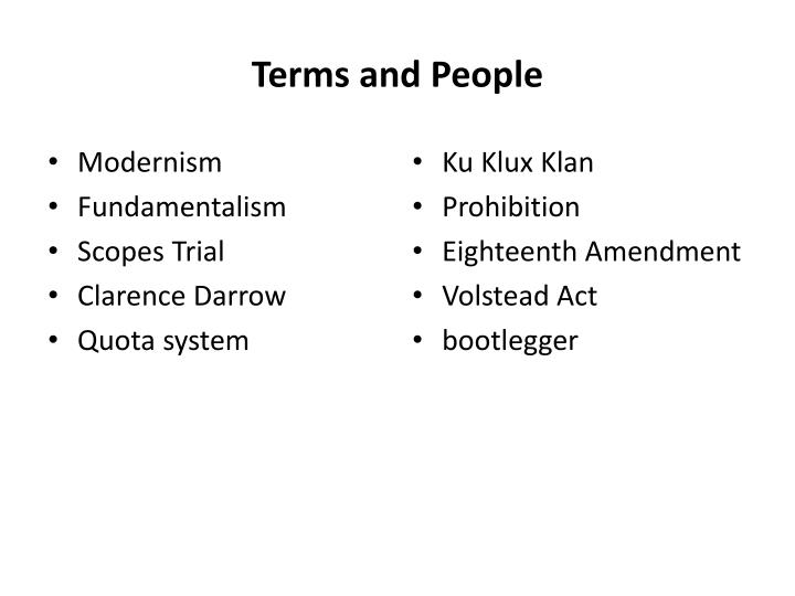 Terms and People