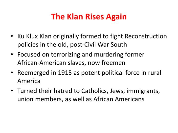 The Klan Rises Again