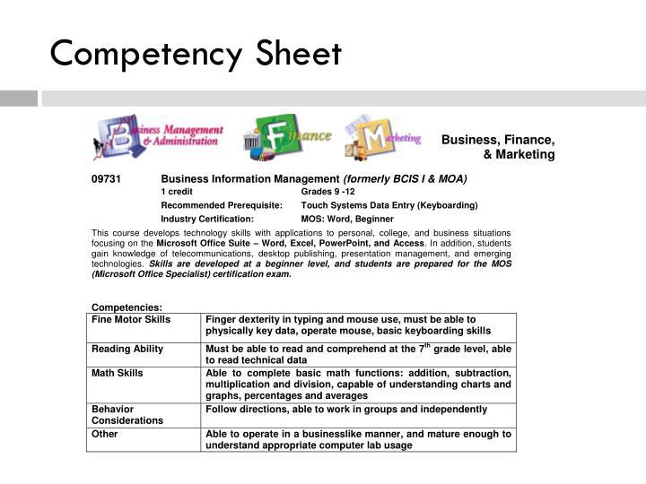 Competency Sheet