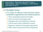 question 4 how are industry rivals positioned who is strongly positioned and who is not