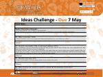 ideas challenge due 7 may