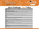 ideas challenge due 7 may1