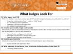what judges look for
