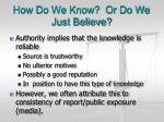 how do we know or do we just believe2