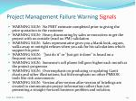 project management failure warning signals