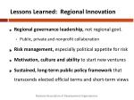 lessons learned regional innovation