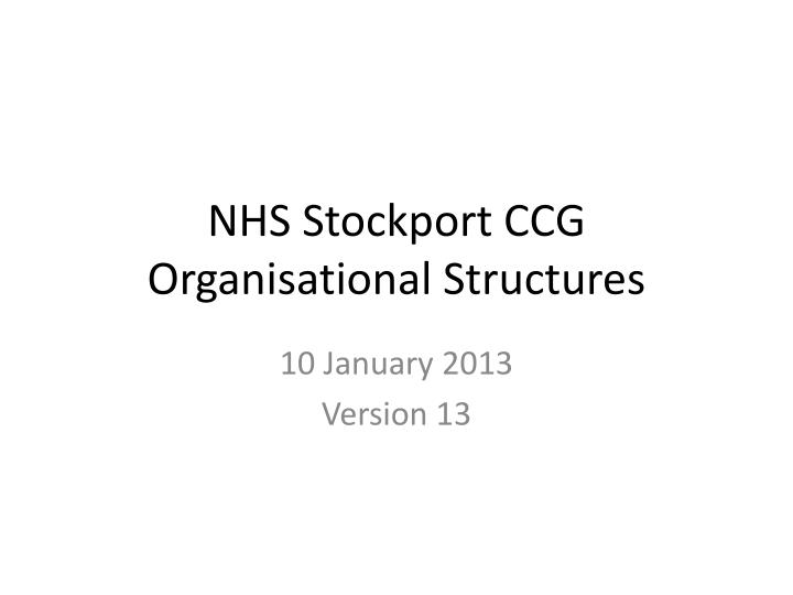 nhs stockport ccg organisational structures n.