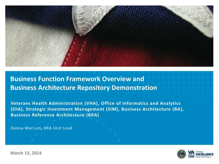 business function framework overview and business architecture repository demonstration n.