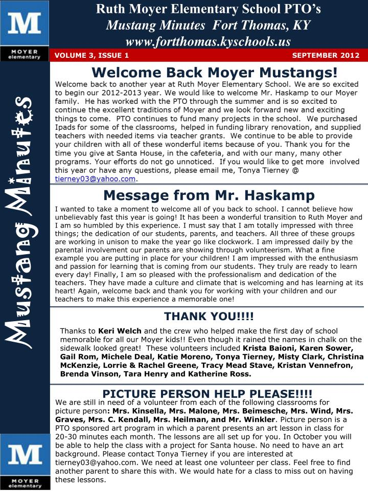 ruth moyer elementary school pto s mustang minutes fort thomas ky www fortthomas kyschools us n.
