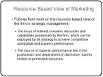 resource based view of marketing