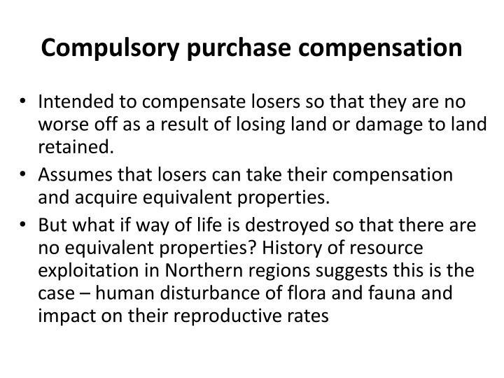 Compulsory purchase compensation
