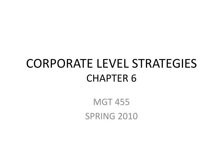 corporate level strategies chapter 6 n.