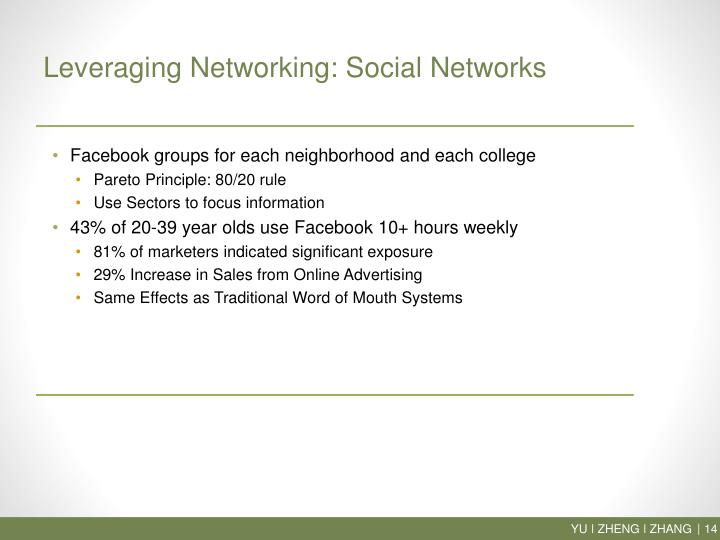 Leveraging Networking: Social Networks