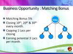 business opportunity matching bonus