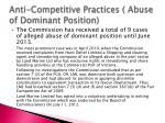 anti competitive practices abuse of dominant position
