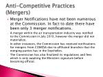 anti competitive practices mergers